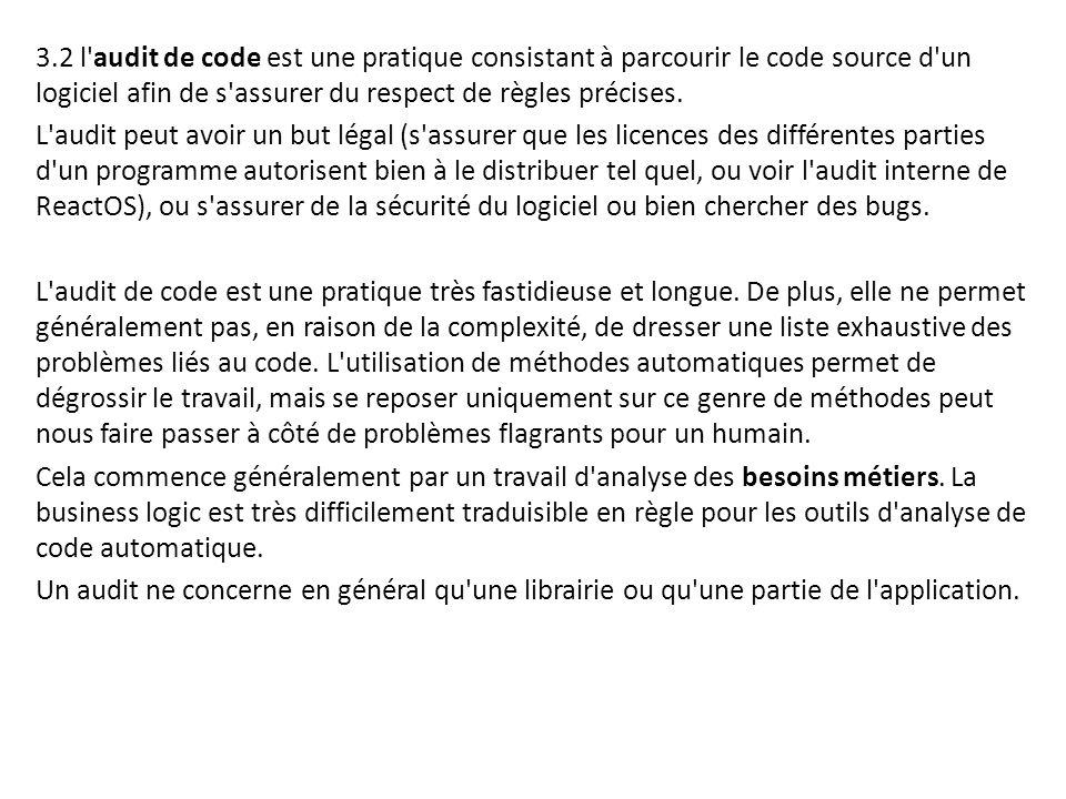 3.2 l'audit de code est une pratique consistant à parcourir le code source d'un logiciel afin de s'assurer du respect de règles précises. L'audit peut