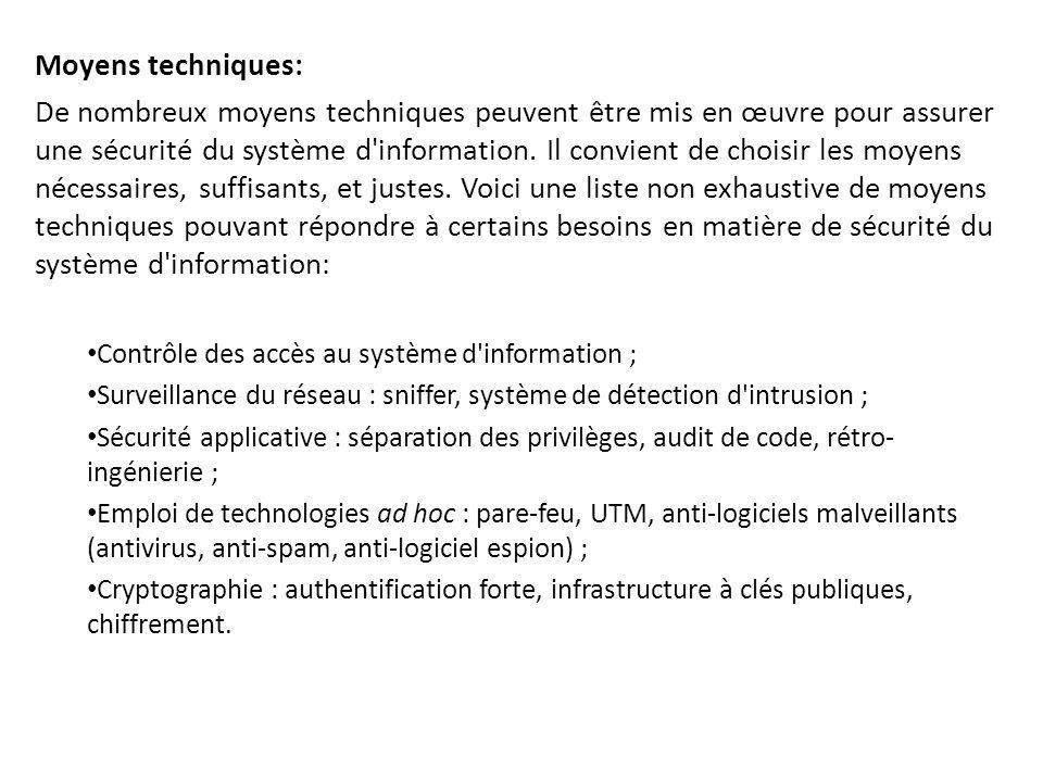 Moyens techniques: De nombreux moyens techniques peuvent être mis en œuvre pour assurer une sécurité du système d'information. Il convient de choisir