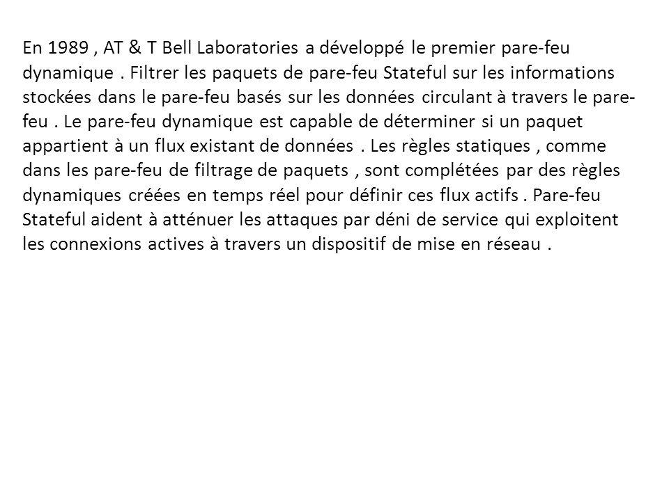 En 1989, AT & T Bell Laboratories a développé le premier pare-feu dynamique. Filtrer les paquets de pare-feu Stateful sur les informations stockées da