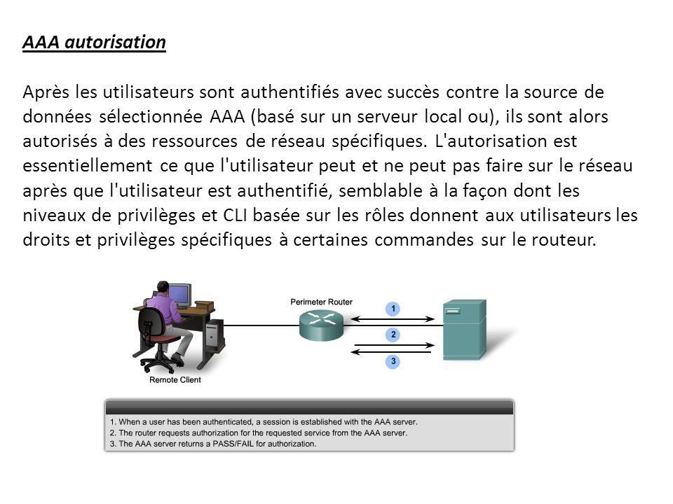 AAA autorisation Après les utilisateurs sont authentifiés avec succès contre la source de données sélectionnée AAA (basé sur un serveur local ou), ils