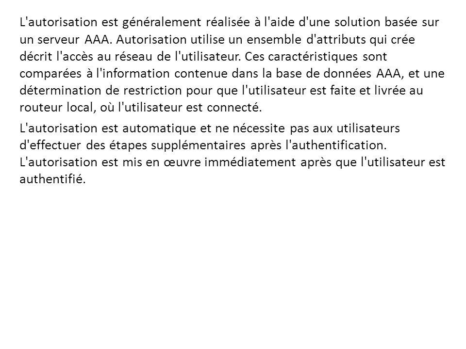 L'autorisation est généralement réalisée à l'aide d'une solution basée sur un serveur AAA. Autorisation utilise un ensemble d'attributs qui crée décri