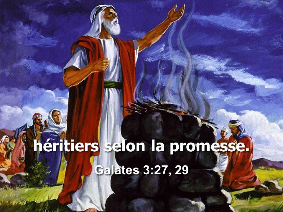 héritiers selon la promesse. Galates 3:27, 29 héritiers selon la promesse. Galates 3:27, 29