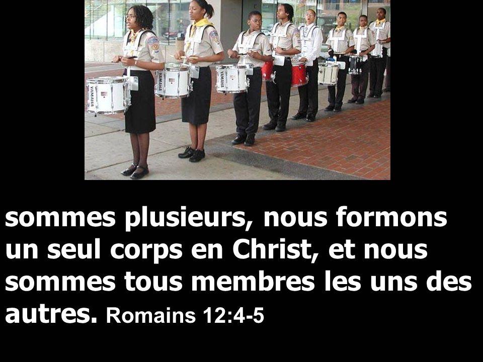 sommes plusieurs, nous formons un seul corps en Christ, et nous sommes tous membres les uns des autres. Romains 12:4-5