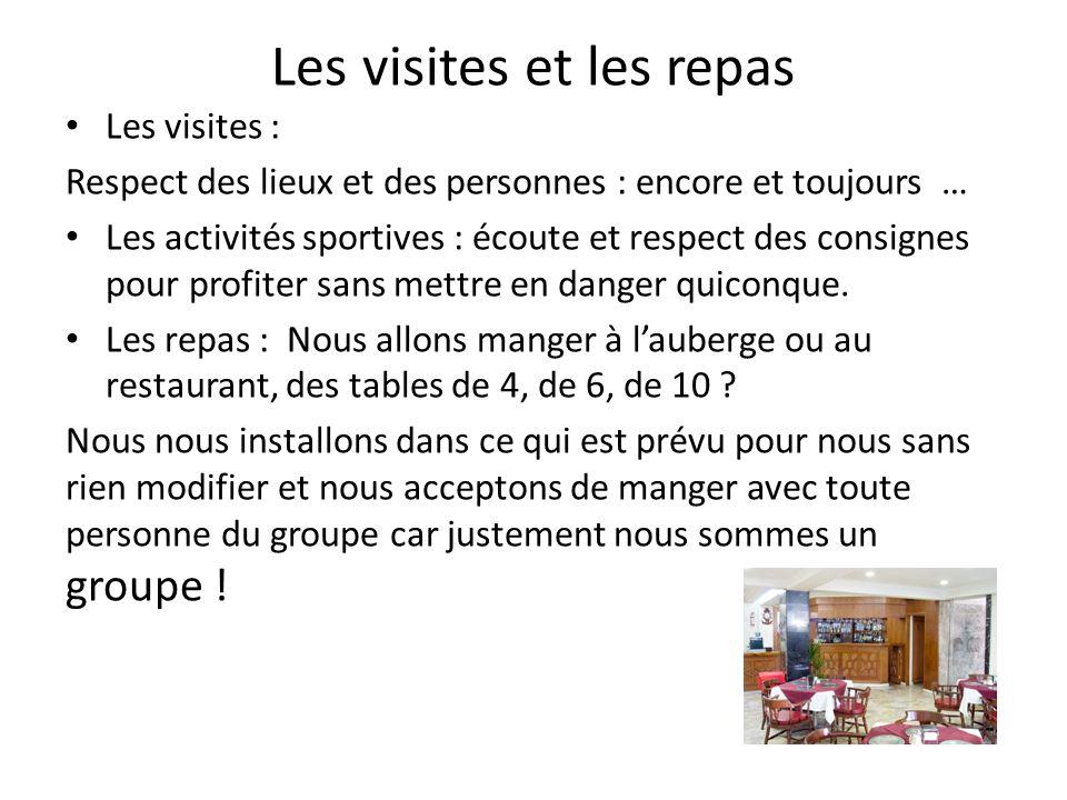 Les visites et les repas Les visites : Respect des lieux et des personnes : encore et toujours … Les activités sportives : écoute et respect des consi