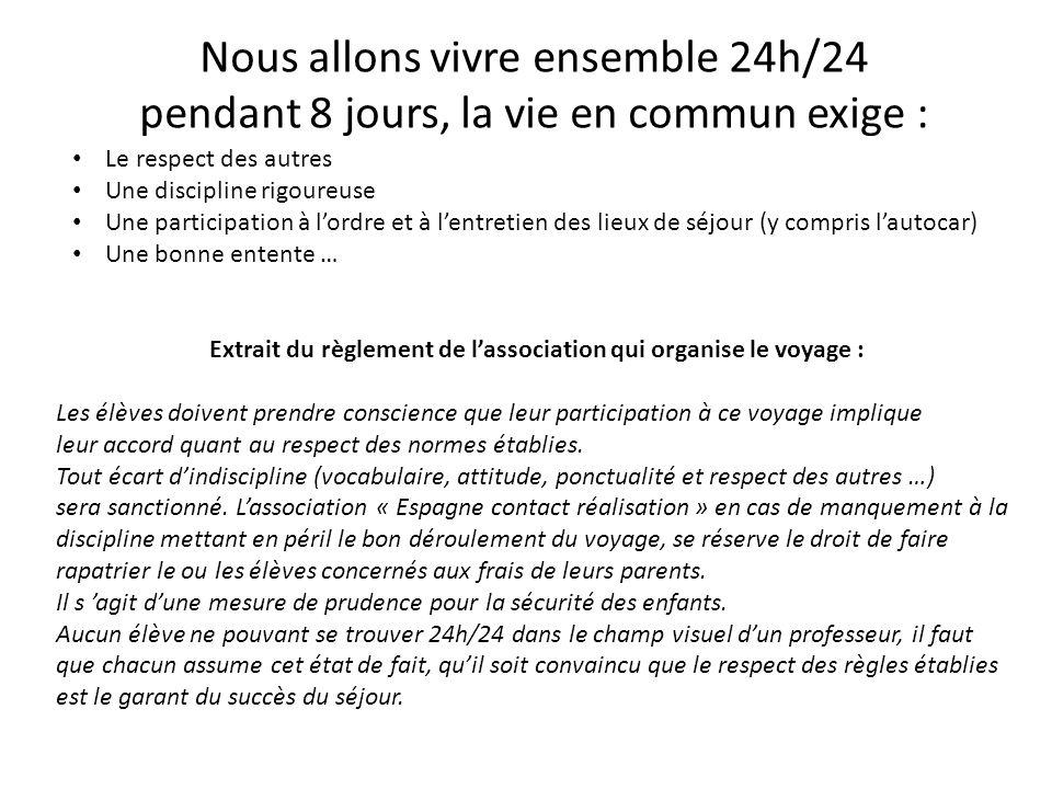 Nous allons vivre ensemble 24h/24 pendant 8 jours, la vie en commun exige : Le respect des autres Une discipline rigoureuse Une participation à l'ordr