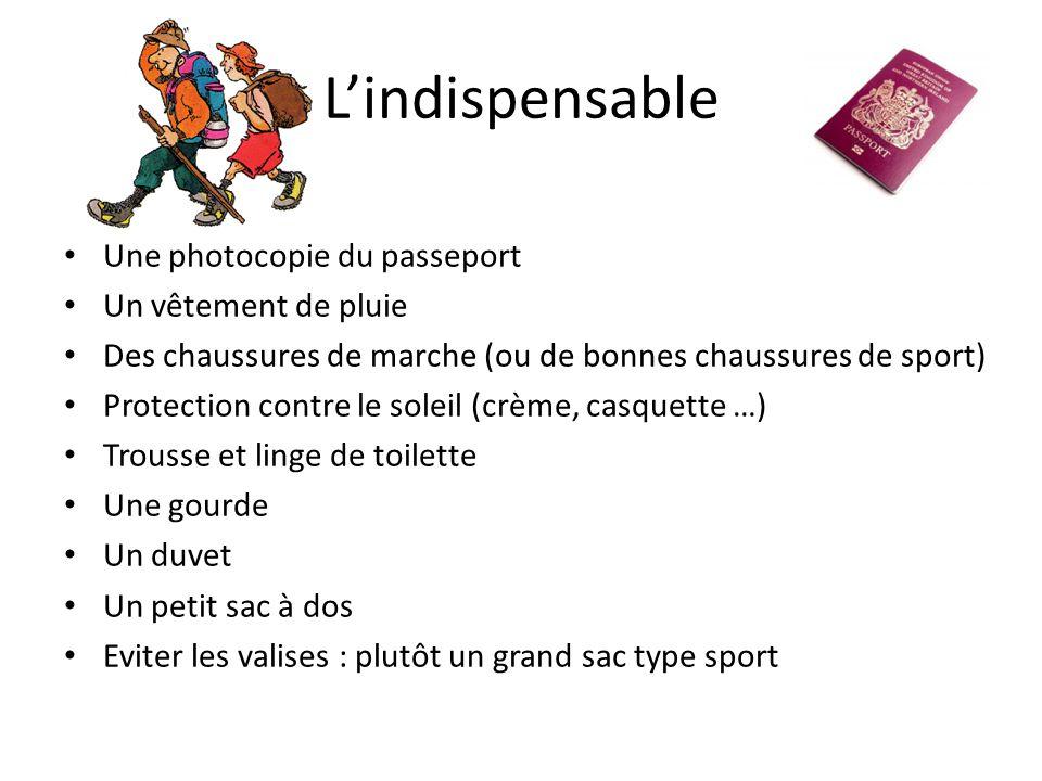 L'indispensable Une photocopie du passeport Un vêtement de pluie Des chaussures de marche (ou de bonnes chaussures de sport) Protection contre le sole
