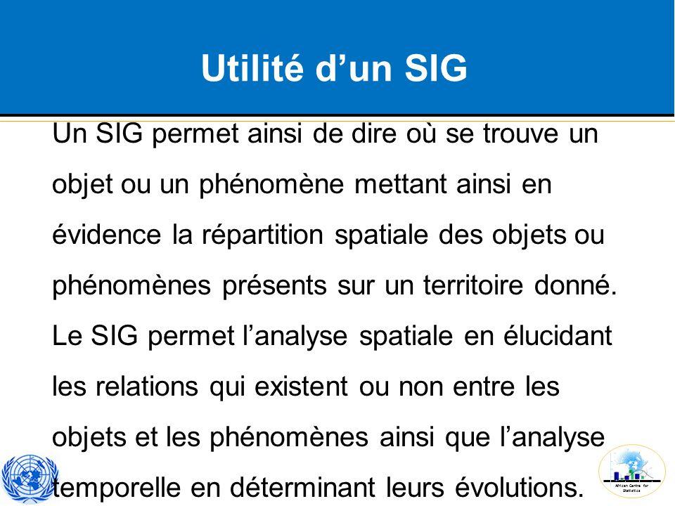 African Centre for Statistics Utilité d'un SIG Un SIG permet ainsi de dire où se trouve un objet ou un phénomène mettant ainsi en évidence la répartit