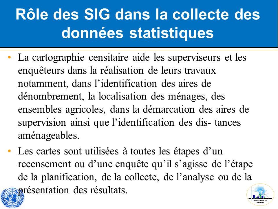 African Centre for Statistics Rôle des SIG dans la collecte des données statistiques La cartographie censitaire aide les superviseurs et les enquêteur