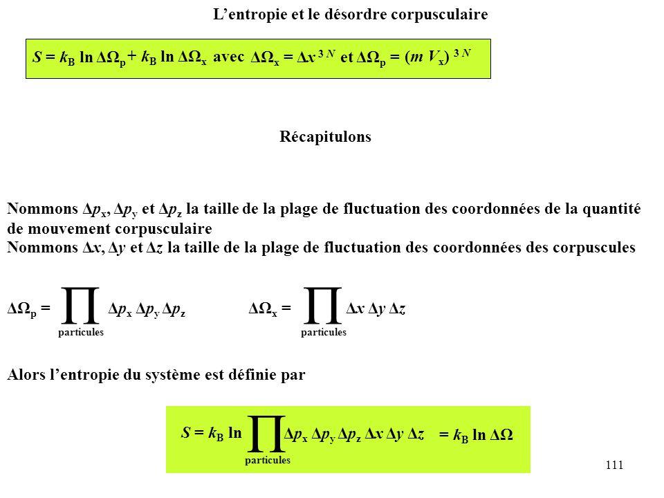 111 L'entropie et le désordre corpusculaire Récapitulons Nommons Δp x, Δp y et Δp z la taille de la plage de fluctuation des coordonnées de la quantité de mouvement corpusculaire Nommons Δx, Δy et Δz la taille de la plage de fluctuation des coordonnées des corpuscules Alors l'entropie du système est définie par S = k B ln Π particules = k B ln ΔΩ Δp x Δp y Δp z Δx Δy Δz S = k B ln ΔΩ p + k B ln ΔΩ x avec ΔΩ x = Δx 3 N et ΔΩ p = (m V x ) 3 N ΔΩ p = Π particules Δp x Δp y Δp z ΔΩ x = Π Δx Δy Δz