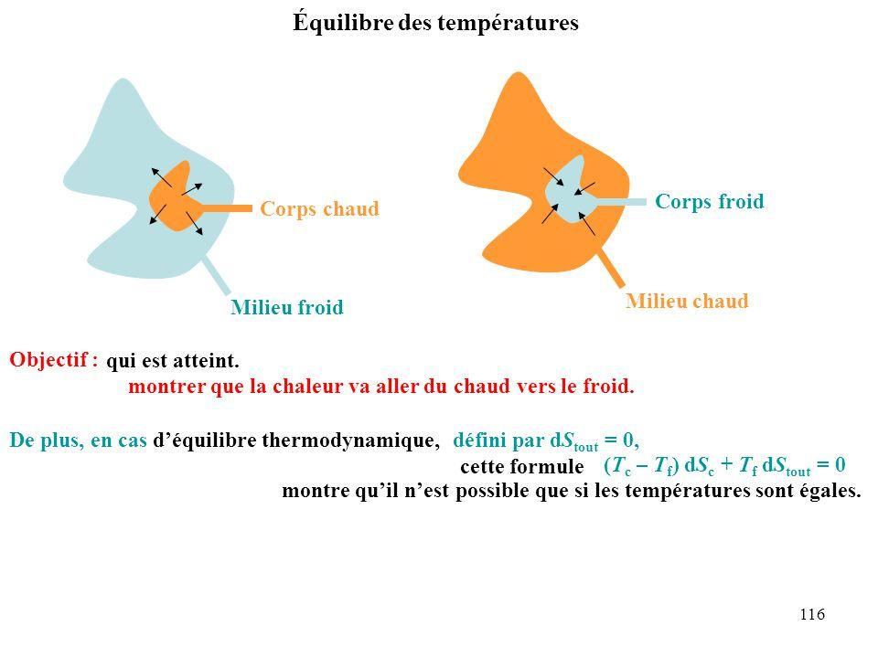 116 Équilibre des températures Milieu froid Corps chaud Milieu chaud Corps froid Objectif : et montrer que la chaleur va aller du chaud vers le froid.