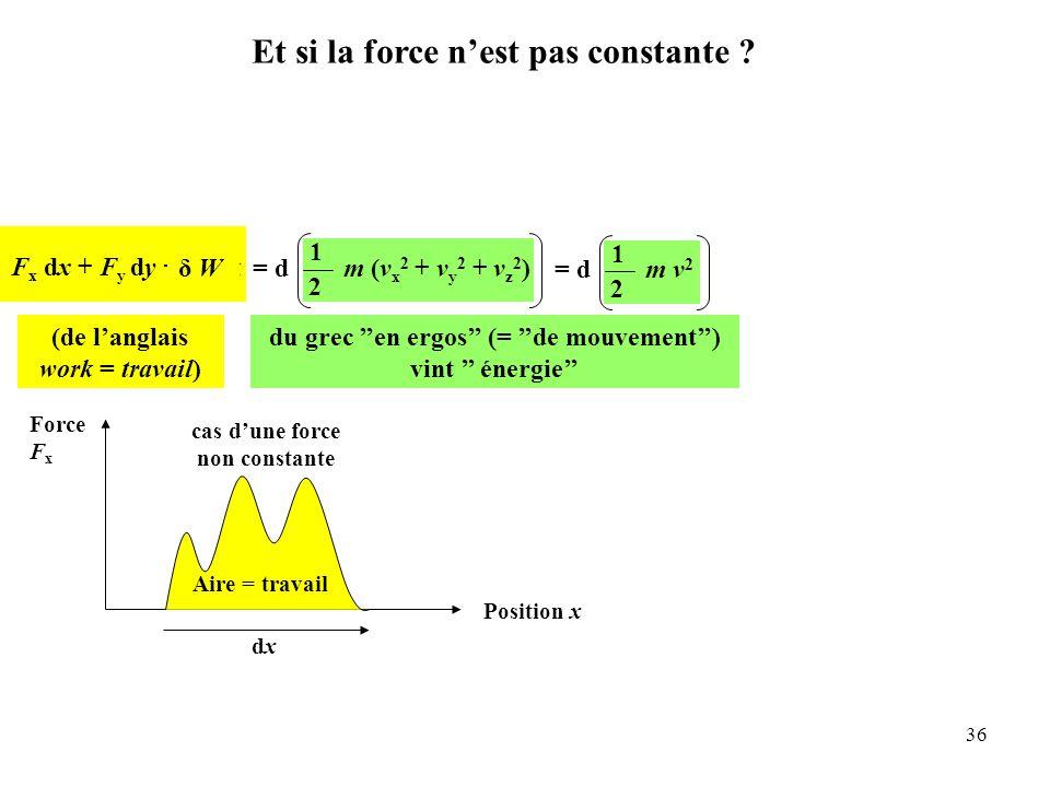 36 F x dx + F y dy + F z dz = d 1 2 m (v x 2 + v y 2 + v z 2 )= d 1 2 m v 2 du grec ''en ergos'' (= ''de mouvement'') vint '' énergie'' Force F x Position x dxdx Aire = travail δ Wδ W (de l'anglais work = travail) cas d'une force non constante Et si la force n'est pas constante ?