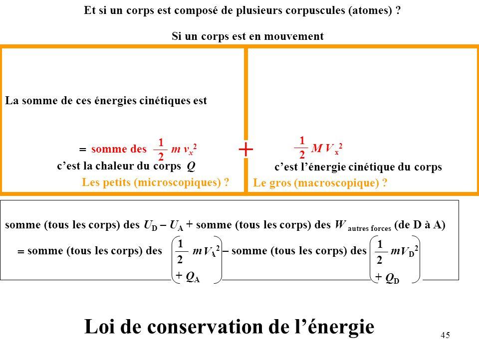 45 somme (tous les corps) des U D – U A + somme (tous les corps) des W autres forces (de D à A) somme (tous les corps) des m v A 2 – somme (tous les corps) des m v D 2 = 1 2 1 2 Si un corps est en mouvement La somme de ces énergies cinétiques est Les petits (microscopiques) .