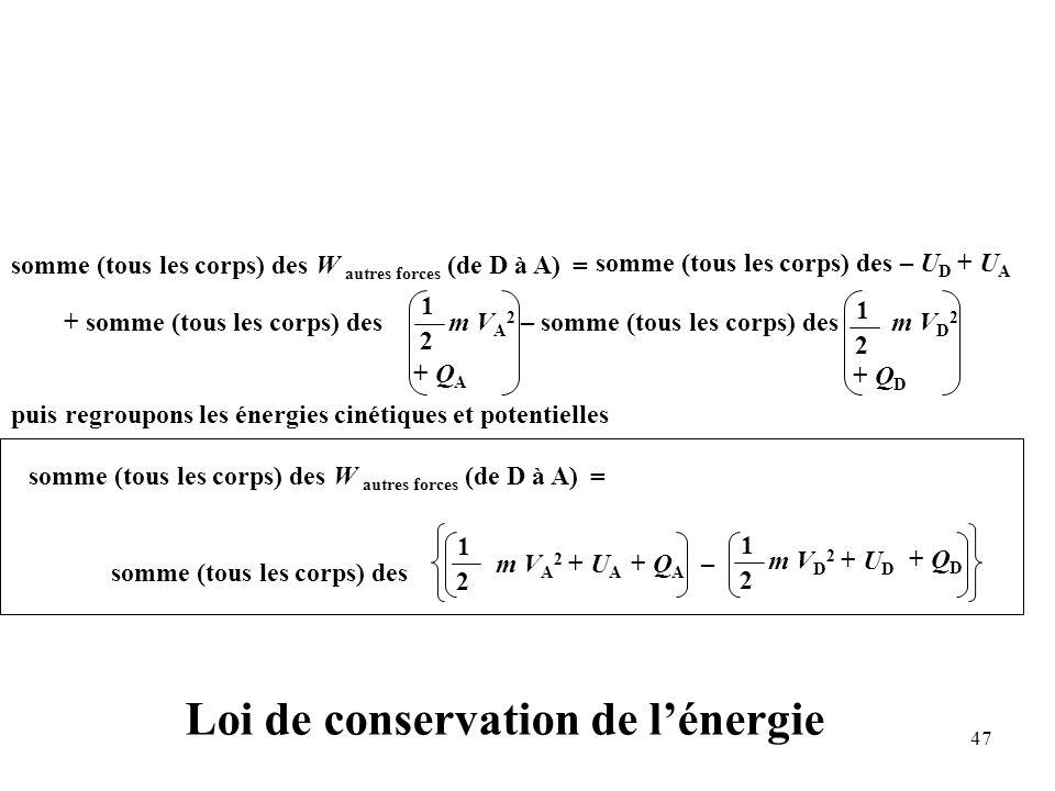 47 Loi de conservation de l'énergie puis regroupons les énergies cinétiques et potentielles somme (tous les corps) des W autres forces (de D à A) + somme (tous les corps) des m V A 2 – somme (tous les corps) des m V D 2 = 1 2 1 2 somme (tous les corps) des – U D + U A + Q A + Q D somme (tous les corps) des W autres forces (de D à A) = 1 2 somme (tous les corps) des + Q A + Q D m V A 2 + U A – m V D 2 + U D 1 2