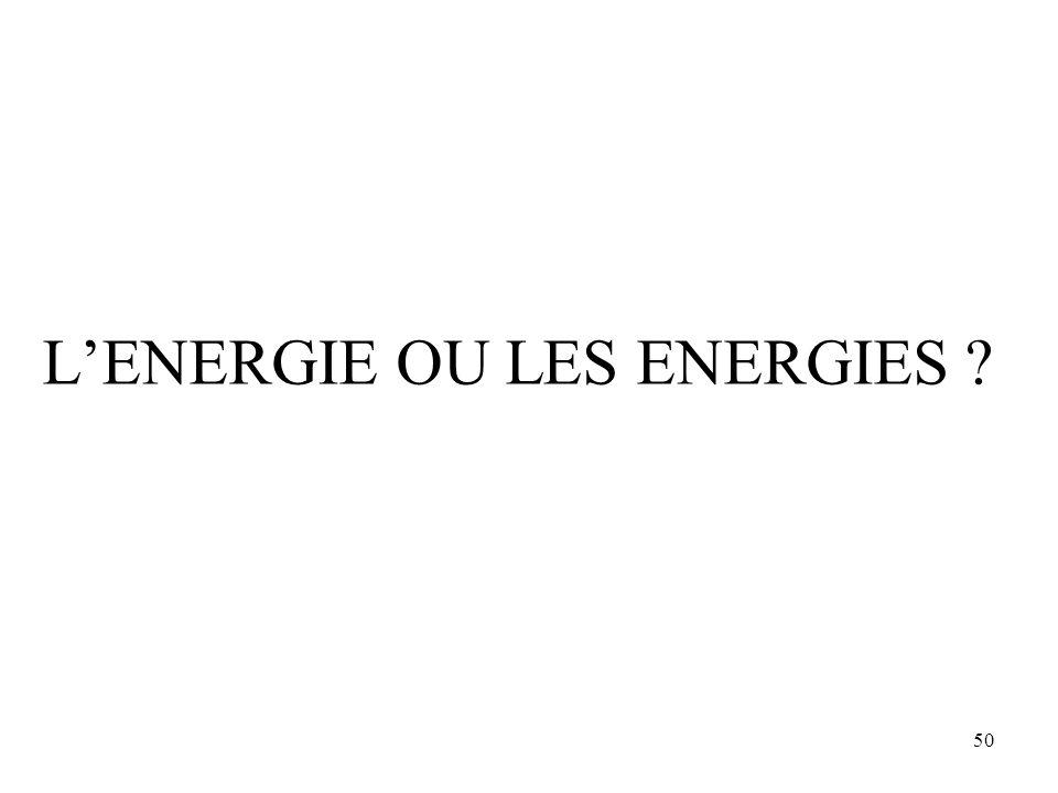 50 L'ENERGIE OU LES ENERGIES ?
