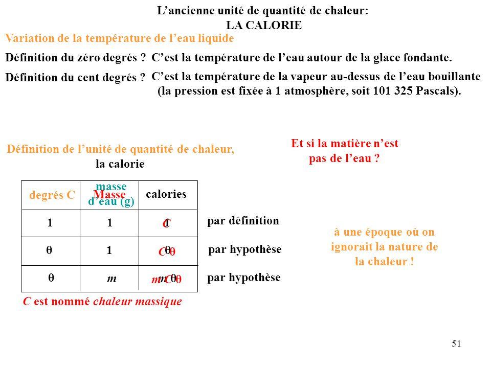 51 degrés C masse d'eau (g) calories 1 11 θ θ 1 θ m θ m par définition par hypothèse par hypothèse L'ancienne unité de quantité de chaleur: LA CALORIE à une époque où on ignorait la nature de la chaleur .
