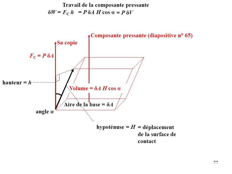 77 angle α hypoténuse = H Composante pressante(diapositive n° 65) Sa copie F C = P δA Aire de la base = δA = déplacement de la surface de contact hauteur = h Volume = δA H cos α Travail de la composante pressante F C h= P δA H cos α = P δV δW =