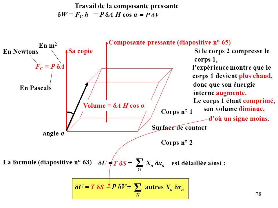 78 angle α Composante pressante(diapositive n° 65) Sa copie F C = P δA Volume = δA H cos α Corps n° 2 Surface de contact Corps n° 1 son volume diminue, Le corps 1 étant comprimé, l'expérience montre que le corps 1 devient plus chaud, donc que son énergie interne augmente.