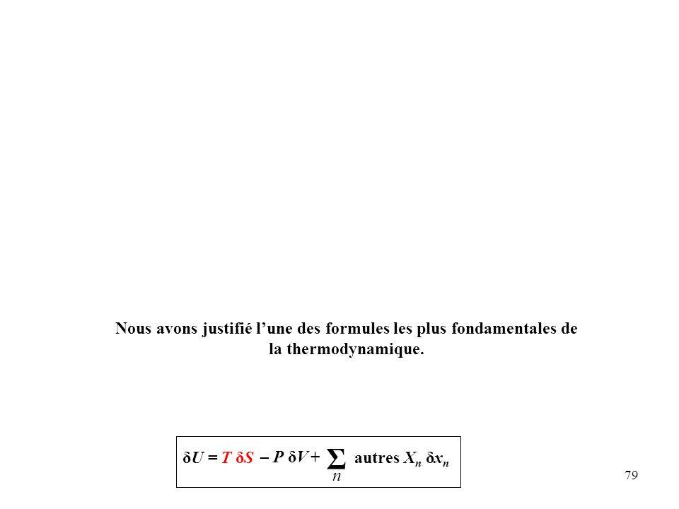 79 Nous avons justifié l'une des formules les plus fondamentales de la thermodynamique.
