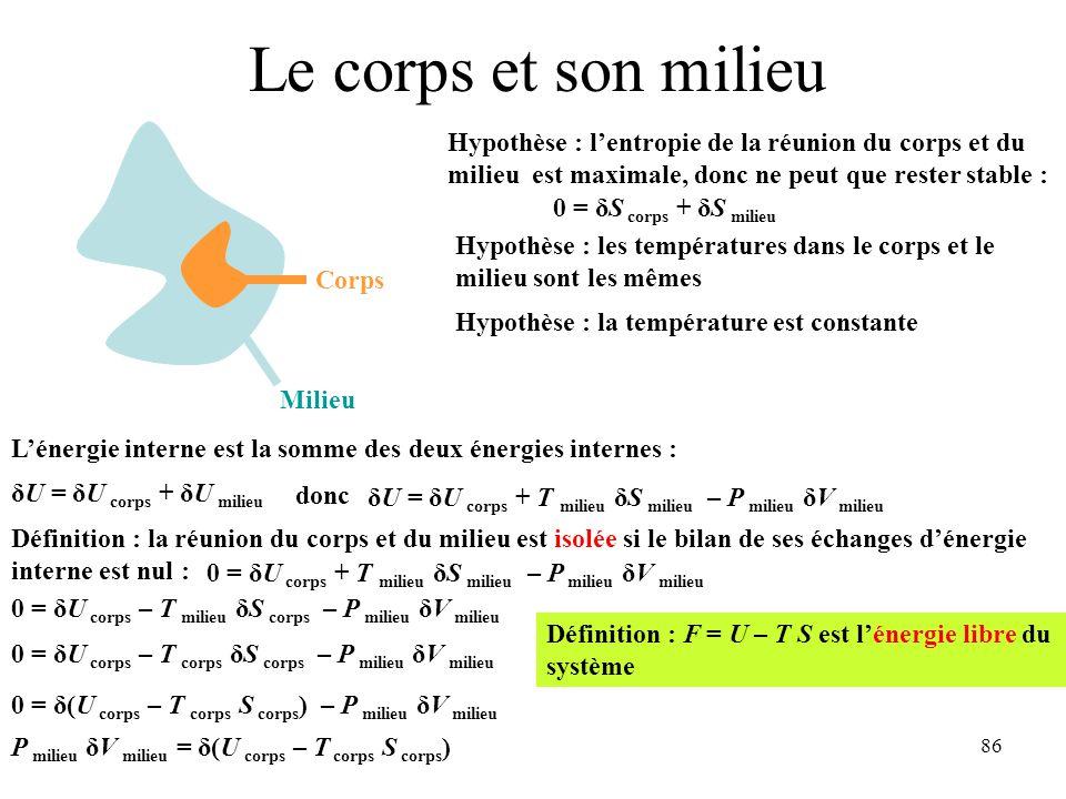 86 Le corps et son milieu Milieu Corps L'énergie interne est la somme des deux énergies internes : δU = δU corps + δU milieu donc δU = δU corps + T milieu δS milieu – P milieu δV milieu Définition : la réunion du corps et du milieu est isolée si le bilan de ses échanges d'énergie interne est nul : 0 = δU corps + T milieu δS milieu – P milieu δV milieu Hypothèse : l'entropie de la réunion du corps et du milieu est maximale, donc ne peut que rester stable : 0 = δS corps + δS milieu 0 = δU corps – T milieu δS corps – P milieu δV milieu Hypothèse : les températures dans le corps et le milieu sont les mêmes 0 = δU corps – T corps δS corps – P milieu δV milieu Hypothèse : la température est constante 0 = δ(U corps – T corps S corps ) – P milieu δV milieu Définition : F = U – T S est l'énergie libre du système P milieu δV milieu = δ(U corps – T corps S corps )