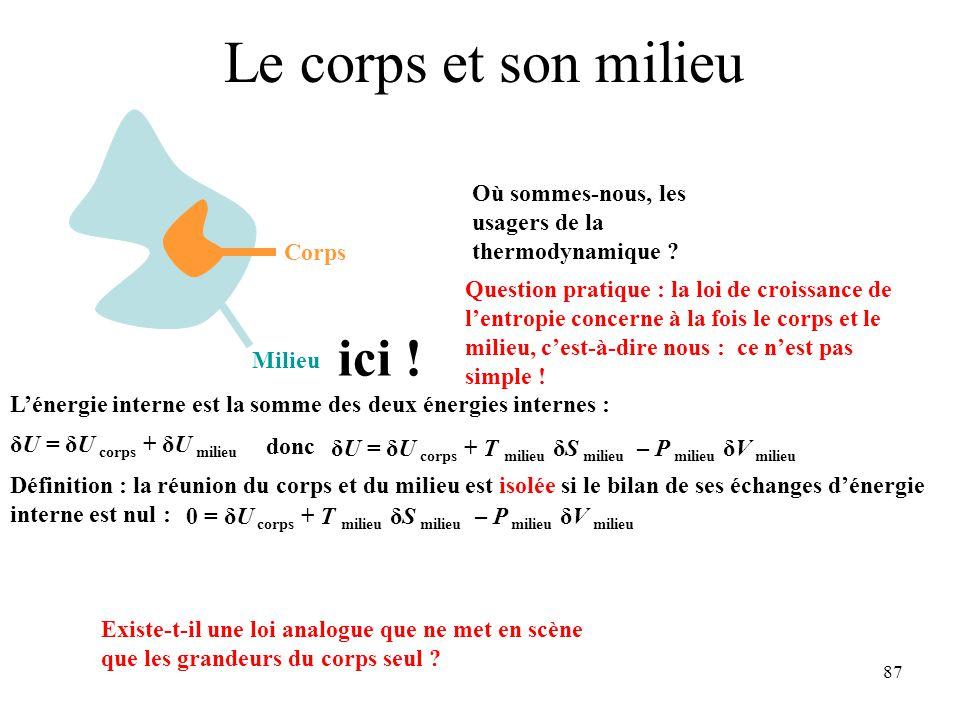 87 Le corps et son milieu Milieu Corps Où sommes-nous, les usagers de la thermodynamique .