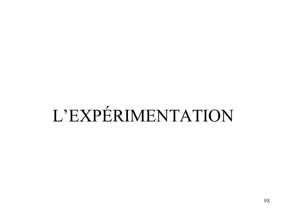 98 L'EXPÉRIMENTATION