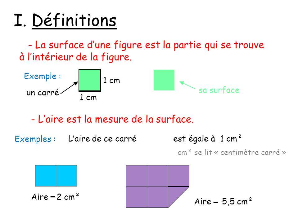 I. Définitions - La surface d'une figure est la partie qui se trouve à l'intérieur de la figure. - L'aire est la mesure de la surface. 1 cm Exemple :