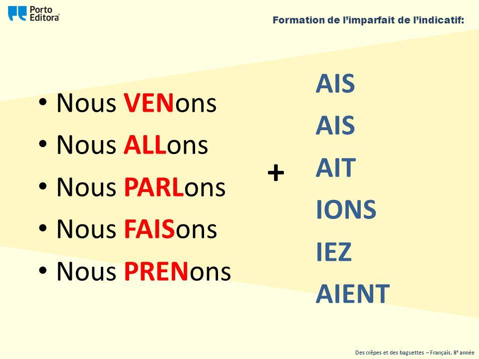 Nous ons ____AIS ____AIT ____IONS ____IEZ ____AIENT VEN Des crêpes et des baguettes – Français, 8 e année Formation de l'imparfait de l'indicatif: