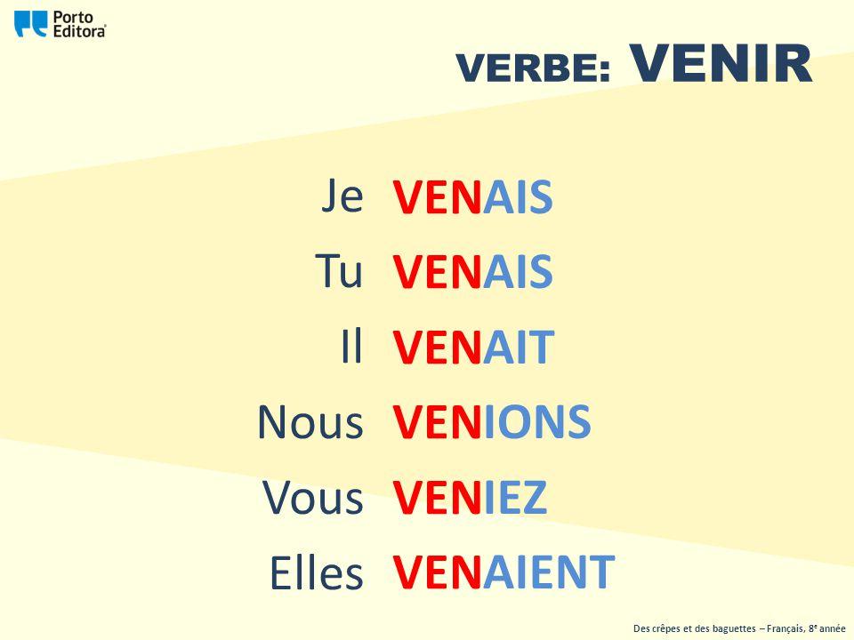VERBE: VENIR VEN Des crêpes et des baguettes – Français, 8 e année Je Tu Il Nous Vous Elles AIS AIT IONS IEZ AIENT