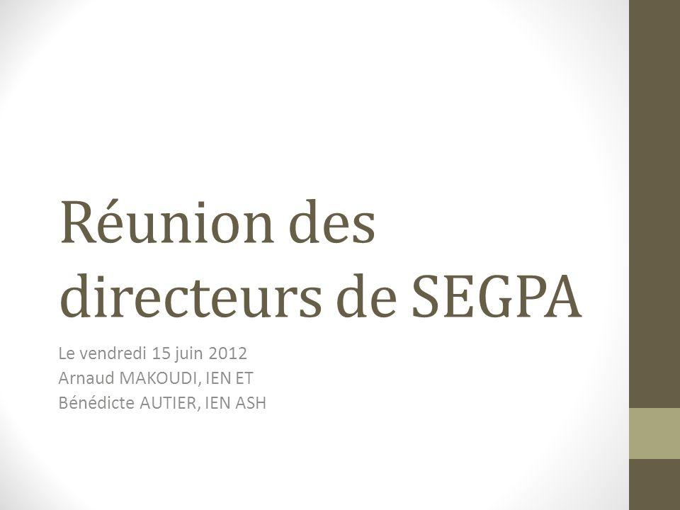 Réunion des directeurs de SEGPA Le vendredi 15 juin 2012 Arnaud MAKOUDI, IEN ET Bénédicte AUTIER, IEN ASH