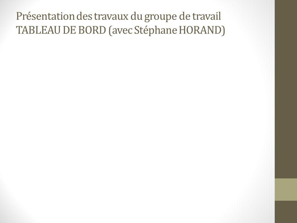 Présentation des travaux du groupe de travail TABLEAU DE BORD (avec Stéphane HORAND)