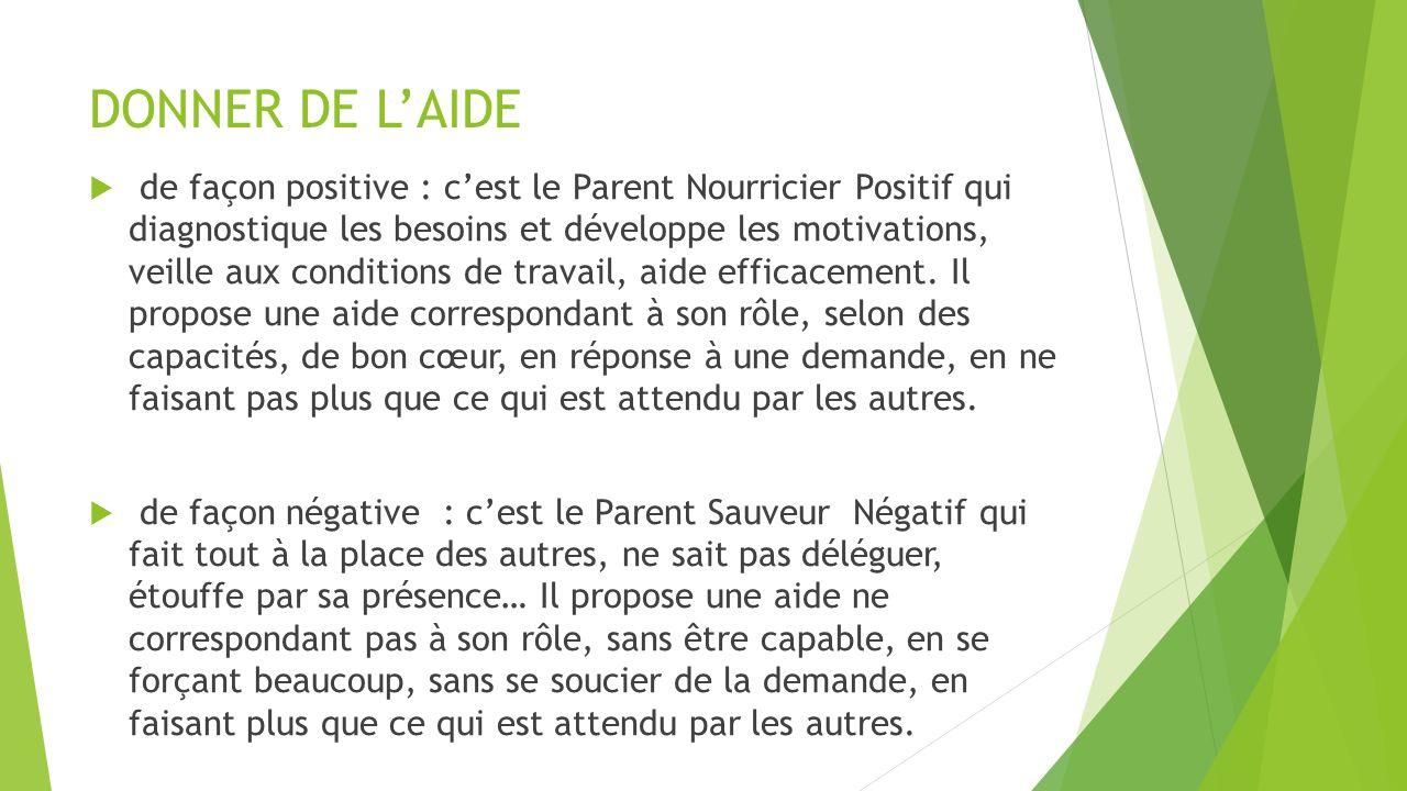 DONNER DE L'AIDE  de façon positive : c'est le Parent Nourricier Positif qui diagnostique les besoins et développe les motivations, veille aux condit