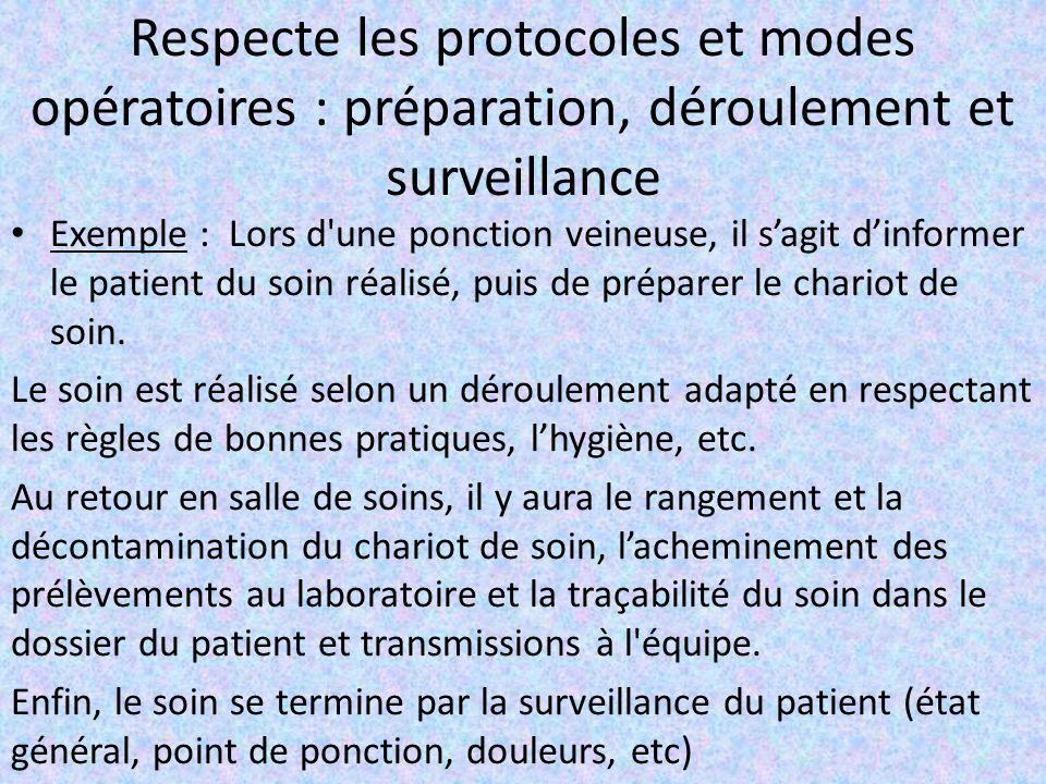 Respecte les protocoles et modes opératoires : préparation, déroulement et surveillance Exemple : Lors d'une ponction veineuse, il s'agit d'informer l