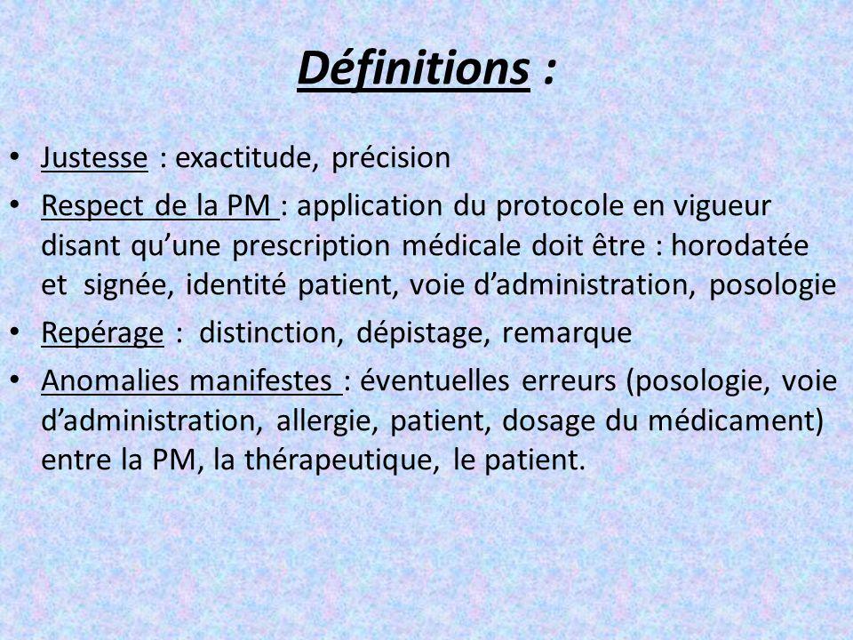 Définitions : Justesse : exactitude, précision Respect de la PM : application du protocole en vigueur disant qu'une prescription médicale doit être :