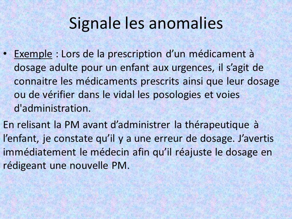 Signale les anomalies Exemple : Lors de la prescription d'un médicament à dosage adulte pour un enfant aux urgences, il s'agit de connaitre les médica