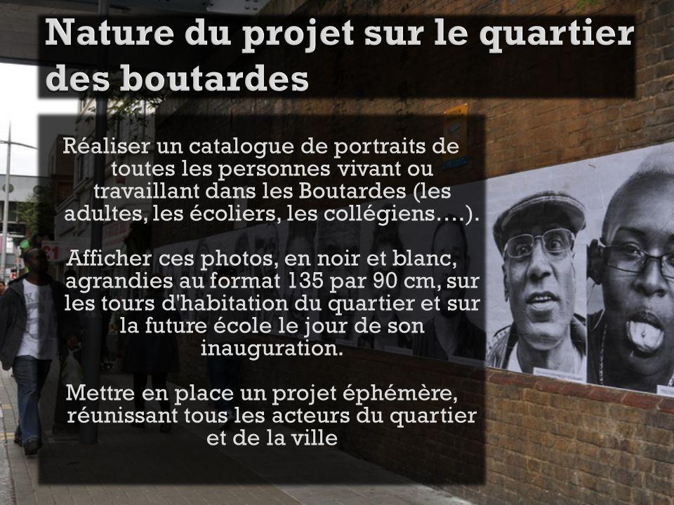 Réaliser un catalogue de portraits de toutes les personnes vivant ou travaillant dans les Boutardes (les adultes, les écoliers, les collégiens….).