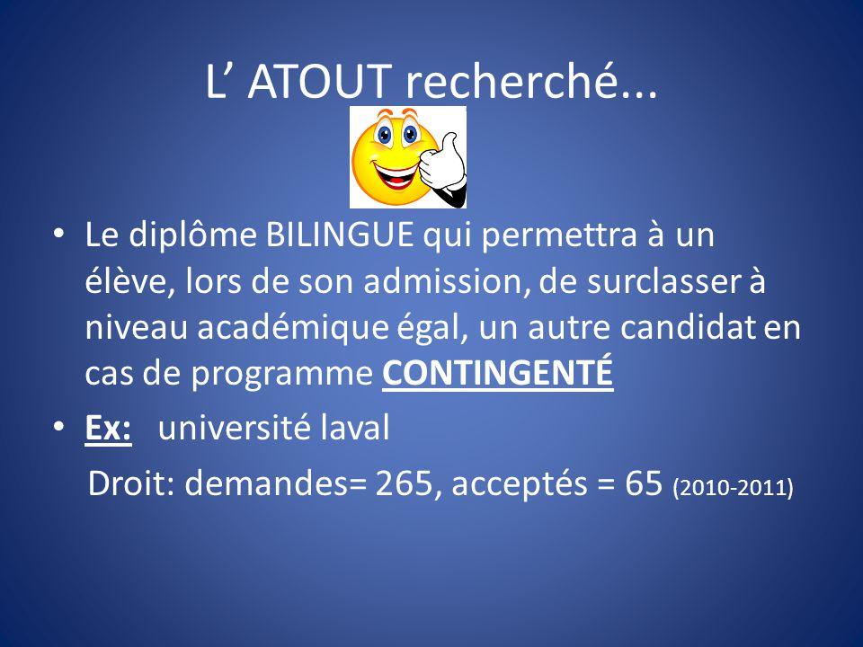 L' ATOUT recherché... Le diplôme BILINGUE qui permettra à un élève, lors de son admission, de surclasser à niveau académique égal, un autre candidat e