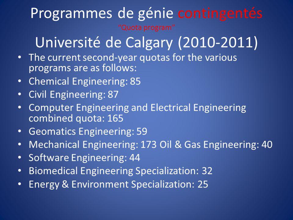 """Programmes de génie contingentés """"Quota program"""" Université de Calgary (2010-2011) The current second-year quotas for the various programs are as foll"""