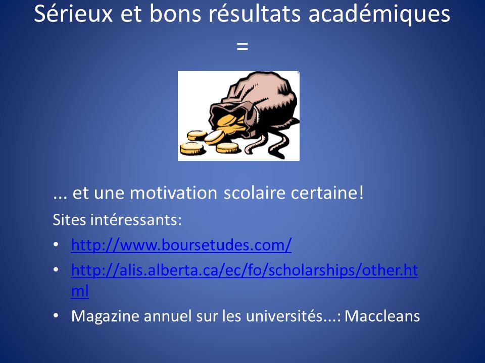 Sérieux et bons résultats académiques =... et une motivation scolaire certaine! Sites intéressants: http://www.boursetudes.com/ http://alis.alberta.ca