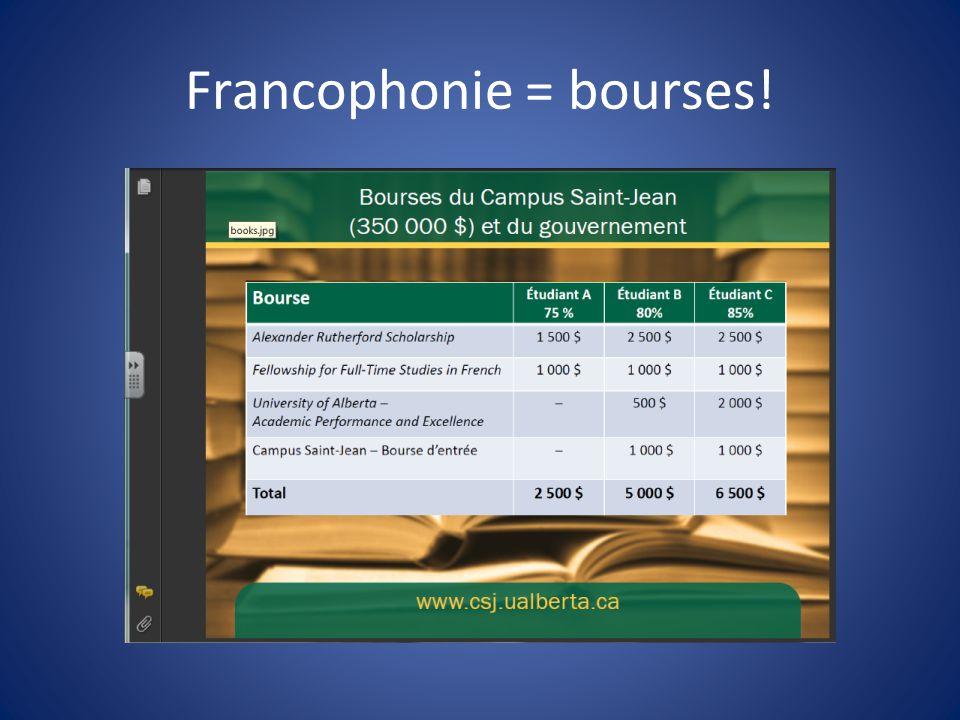 Francophonie = bourses!