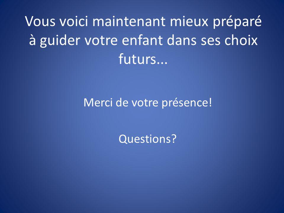 Vous voici maintenant mieux préparé à guider votre enfant dans ses choix futurs... Merci de votre présence! Questions?