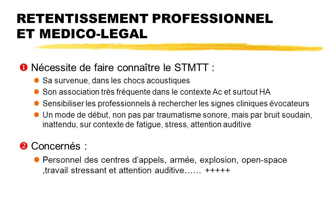RETENTISSEMENT PROFESSIONNEL ET MEDICO-LEGAL  Nécessite de faire connaître le STMTT : Sa survenue, dans les chocs acoustiques Son association très fr