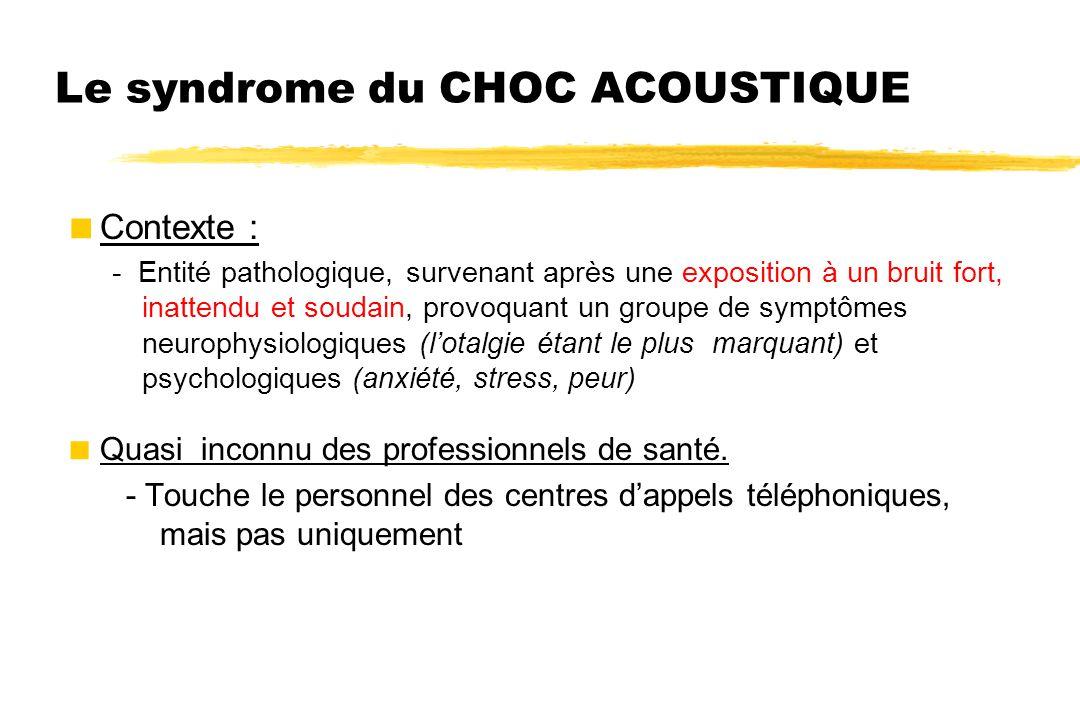Le syndrome du CHOC ACOUSTIQUE  Contexte : - Entité pathologique, survenant après une exposition à un bruit fort, inattendu et soudain, provoquant un