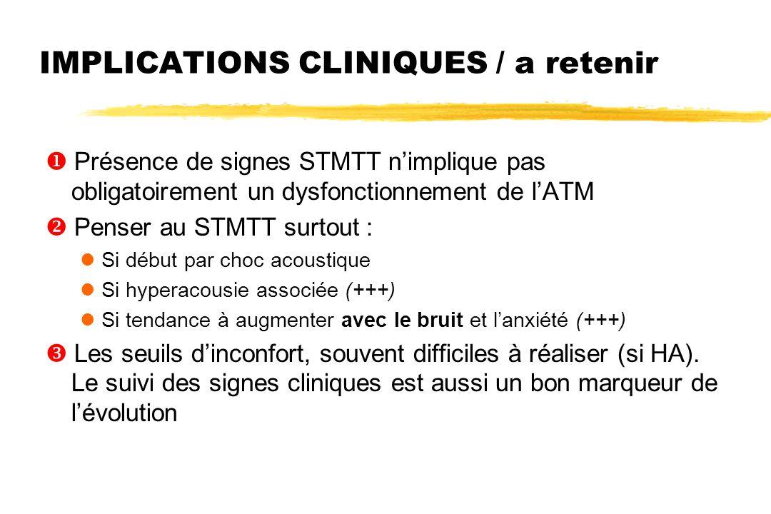 IMPLICATIONS CLINIQUES / a retenir  Présence de signes STMTT n'implique pas obligatoirement un dysfonctionnement de l'ATM  Penser au STMTT surtout :