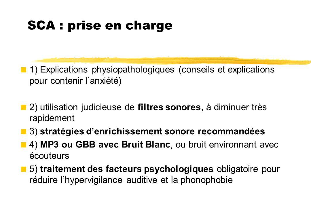 SCA : prise en charge  1) Explications physiopathologiques (conseils et explications pour contenir l'anxiété)  2) utilisation judicieuse de filtres