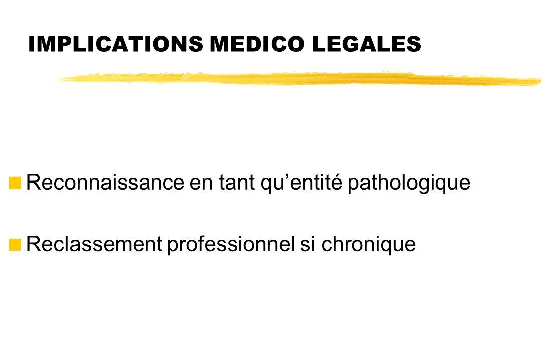 IMPLICATIONS MEDICO LEGALES  Reconnaissance en tant qu'entité pathologique  Reclassement professionnel si chronique