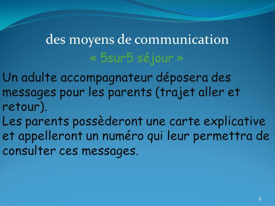 des moyens de communication « 5sur5 séjour » Un adulte accompagnateur déposera des messages pour les parents (trajet aller et retour).