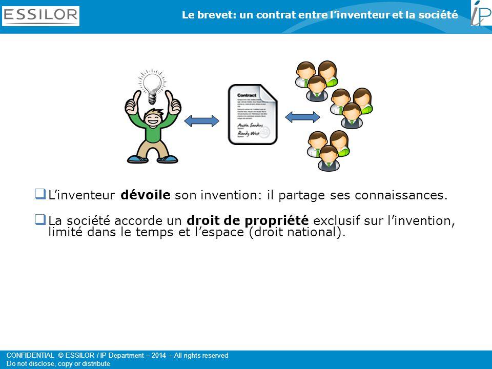 CONFIDENTIAL © ESSILOR / IP Department – 2014 – All rights reserved Do not disclose, copy or distribute  L'inventeur dévoile son invention: il partage ses connaissances.