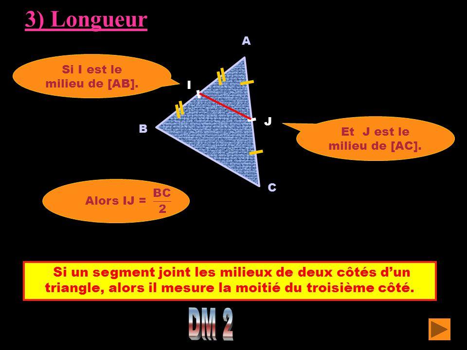 Si un segment joint les milieux de deux côtés d'un triangle, alors il mesure la moitié du troisième côté. A C Si I est le milieu de [AB]. Alors IJ = B