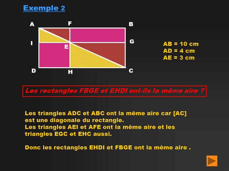 Exemple 2 AB CD AB = 10 cm AD = 4 cm AE = 3 cm E Les rectangles FBGE et EHDI ont-ils la même aire ? F G H I Les triangles ADC et ABC ont la même aire