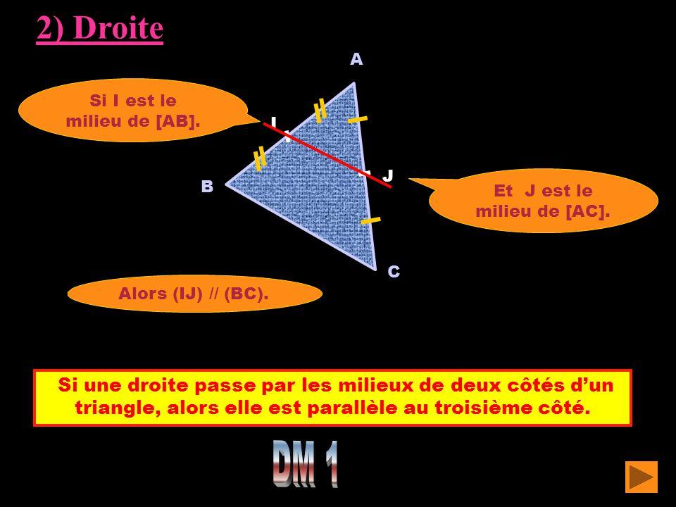 Si une droite passe par les milieux de deux côtés d'un triangle, alors elle est parallèle au troisième côté. A C Si I est le milieu de [AB]. Alors (IJ